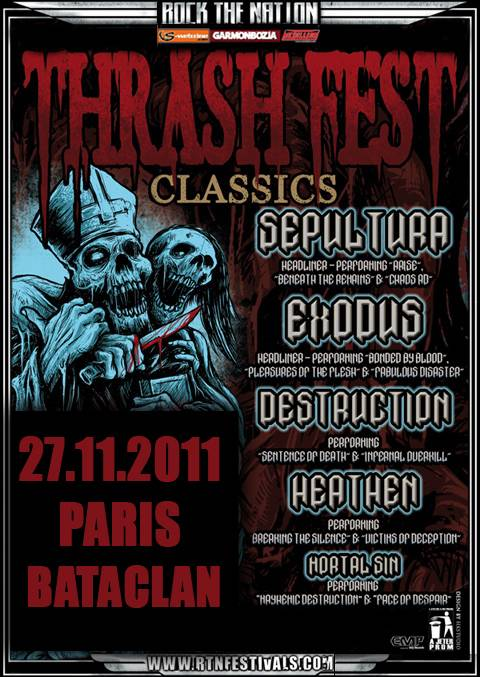 Sepultura / Exodus / Destruction / Heathen - 27/11/2011 - Paris (bataclan)