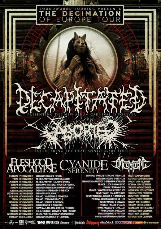 Decapitated / Aborted / Fleshgod Apocalypse - Glazart le 15/12/2011
